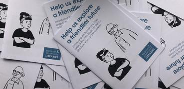 Leaflets for the Bumping Spaces project showing blue lettering on a white background