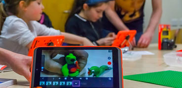 Children creating with tablets